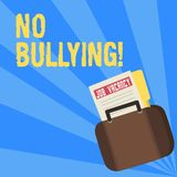 Writing note showing No Bullying. Business photo showcasing stop aggressive behavior among children power imbalance. Writing note showing No Bullying. Business vector illustration