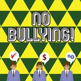 Writing note showing No Bullying. Business photo showcasing stop aggressive behavior among children power imbalance. Writing note showing No Bullying. Business royalty free illustration