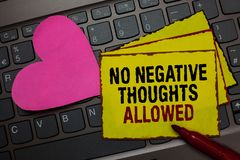 Writing note showing No Negative Thoughts Allowed. Business photo showcasing Always positive motivated inspired good vibes Red bor. Dered yellow written paper Stock Photo