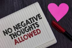 Writing note showing No Negative Thoughts Allowed. Business photo showcasing Always positive motivated inspired good vibes Striket. Hrough words on notepad love Stock Photos