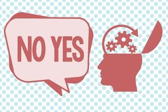 Writing note showing No Yes. Business photo showcasing Answering question using these words to show acception or. Rejection stock illustration
