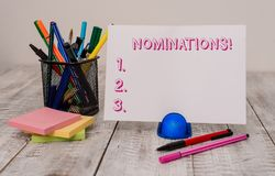 Writing note showing Nominations. Business photo showcasing action of nominating or state being nominated for prize. Writing note showing Nominations. Business royalty free stock images