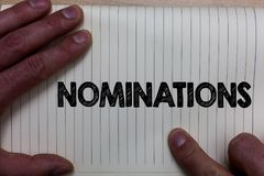 Writing note showing Nominations. Business photo showcasing Suggestions of someone or something for a job position or prize Notebo. Ok register line drawing Stock Photos