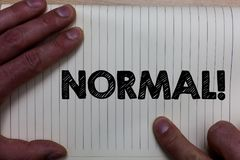 Writing note showing Normal Motivational Call. Business photo showcasing conforming to a standard Usual Typical or Expected Notebo. Ok register line drawing stock photography