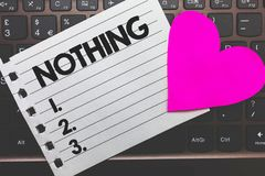Writing note showing Nothing. Business photo showcasing Not anything No single thing or value Absence of progress Blank Small pape. R diary page love heart stock images
