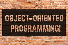 Writing note showing Object Oriented Programming. Business photo showcasing Language model objects rather than actions. Brick Wall art like Graffiti royalty free stock images