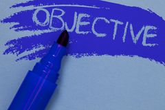 Writing note showing Objective. Business photo showcasing Goal planned to be achieved Desired target Company mission Bold blue mar. Ker colouring sketch work stock images