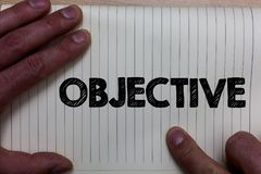 Writing note showing Objective. Business photo showcasing Goal planned to be achieved Desired target Company mission Notebook regi. Ster line drawing office stock photography