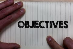 Writing note showing Objectives. Business photo showcasing Goals planned to be achieved Desired targets Company missions Notebook. Register line drawing office stock image