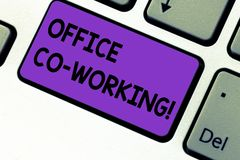 Writing note showing Office Co Working. Business photo showcasing Business services providing shared spaces to work Keyboard key stock photo