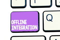 Writing note showing Offline Integration. Business photo showcasing First Triad of Marketing Television Print and. Outdoor royalty free stock image