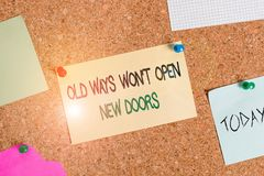 Free Writing Note Showing Old Ways Won T Open New Doors. Business Photo Showcasing Be Different And Unique To Achieve Goals Royalty Free Stock Photos - 160312868
