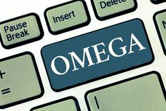 Writing note showing Omega. Business photo showcasing Class of essential fatty acids Lower the levels of cholesterol and. LDL stock photo