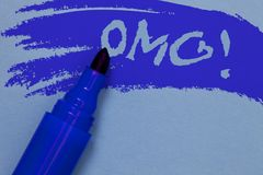 Writing note showing Omg Motivational Call. Business photo showcasing Oh my good abbreviation Modern Astonishment expression Bold. Blue marker colouring sketch stock photos