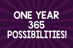 Writing note showing One Year 365 Possibilities. Business photo showcasing Fresh new start Opportunities Motivation Half. Tone Sunburst Beam Explosion Effect stock illustration