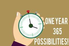 Writing note showing One Year 365 Possibilities. Business photo showcasing Fresh new start Opportunities Motivation Hu analysis. Hand Holding Stop Watch Timer vector illustration