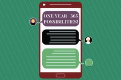 Writing note showing One Year 365 Possibilities. Business photo showcasing Fresh new start Opportunities Motivation. Mobile Messenger Screen with Chat Heads and vector illustration