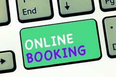 Writing note showing Online Booking. Business photo showcasing Reservation through internet Hotel accommodation Plane ticket.  royalty free stock image