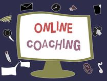 Writing note showing Online Coaching. Business photo showcasing Learning from online and internet with the help of a coach.  Stock Illustration