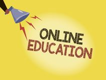 Writing note showing Online Education. Business photo showcasing study and ethical practice of facilitating learning.  Royalty Free Illustration