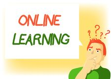 Writing note showing Online Learning. Business photo showcasing Larning with the assistance of the Internet and a computer.  vector illustration