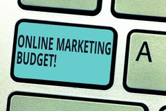 Writing note showing Online Marketing Budget. Business photo showcasing cost that will be required to promote products. Keyboard key Intention to create vector illustration
