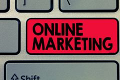Writing note showing Online Marketing. Business photo showcasing form advertising which uses Internet deliver customer needs.  stock photography