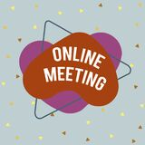 Writing note showing Online Meeting. Business photo showcasing a meeting that takes place over an electronic medium Asymmetrical