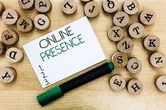 Writing note showing Online Presence. Business photo showcasing existence of someone that can be found via an online. Search royalty free stock photos