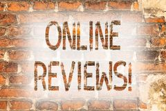 Writing note showing Online Reviews. Business photo showcasing Internet Evaluations Customer Rating Opinions Satisfaction Brick. Wall art like Graffiti royalty free stock photography