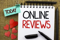 Writing note showing  Online Reviews. Business photo showcasing Internet Evaluations Customer Rating Opinions Satisfaction written. Writing note showing  Online Royalty Free Stock Photo