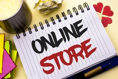 Writing note showing  Online Store. Business photo showcasing Internet related business Website where you can buy in the net writt. En Notebook Book the plain Stock Photo