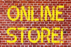 Writing note showing Online Store. Business photo showcasing Internet related business Website where you can buy in the net Brick. Wall art like Graffiti stock image