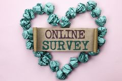 Writing note showing  Online Survey. Business photo showcasing Digital Media Poll Customer Feedback Opinions Questionnaire written. Cardboard Piece Heart the Royalty Free Stock Photos