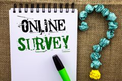 Writing note showing  Online Survey. Business photo showcasing Digital Media Poll Customer Feedback Opinions Questionnaire written. Notebook Book the jute Royalty Free Stock Photos