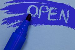 Writing note showing Open. Business photo showcasing Allow things to pass through or for immediate use Contrary of closed Bold blu. E marker colouring sketch stock photography