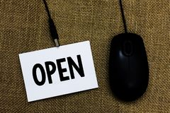Writing note showing Open. Business photo showcasing Allow things to pass through or for immediate use Contrary of closed Sticky c. Ard type text convey message royalty free stock image