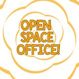 Writing note showing Open Space Office. Business photo showcasing minimizes use of small enclosed rooms as private. Offices Paper Petals Cut Out Ribbon Strip royalty free illustration