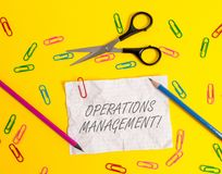Writing note showing Operations Management. Business photo showcasing ensure Inputs to Output the Production and. Writing note showing Operations Management royalty free stock photo