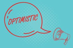 Writing note showing Optimistic. Business photo showcasing Hopeful and confident about the future Positive thinking stock illustration