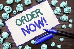 Writing note showing  Order Now. Business photo showcasing Buy Purchase Order Deal Sale Promotion Shop Product Register written on. Writing note showing  Order Royalty Free Stock Photo