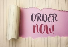 Writing note showing  Order Now. Business photo showcasing Buy Purchase Order Deal Sale Promotion Shop Product Register written on. Writing note showing  Order Royalty Free Stock Images