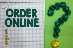 Writing note showing Order Online. Business photo showcasing Buying goods and services from the sellers over the internet Square n. Otebook crumpled papers stock photography