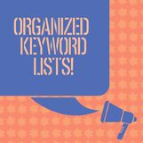 Writing note showing Organized Keyword Lists. Business photo showcasing Taking list of keywords and place them in groups Color. Silhouette of Blank Square stock illustration