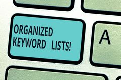 Writing note showing Organized Keyword Lists. Business photo showcasing Taking list of keywords and place them in groups. Keyboard key Intention to create royalty free stock images