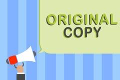 Writing note showing Original Copy. Business photo showcasing Main Script Unprinted Branded Patented Master List Man holding megap. Hone loudspeaker speech vector illustration
