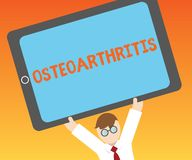 Writing note showing Osteoarthritis. Business photo showcasing Degeneration of joint cartilage and the underlying bone.  stock illustration