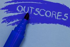 Writing note showing Outscores. Business photo showcasing Score more point than others Examination Tests running Health care Bold stock photo