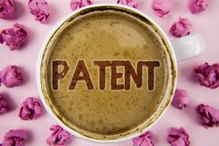 Writing note showing Patent. Business photo showcasing License that gives rights for using selling making a product written on Co. Writing note showing Patent royalty free stock images