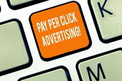 Writing note showing Pay Per Click Advertising. Business photo showcasing Modern type of online marketing promotion. Keyboard Intention to create computer royalty free stock photography